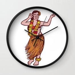 Polynesian Dancer Grass Skirt Linocut Wall Clock