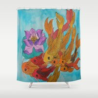 koi fish Shower Curtains featuring Koi Fish by DaeChristine