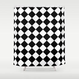 SMALL BLACK AND WHITE HARLEQUIN DIAMOND PATTERN Shower Curtain