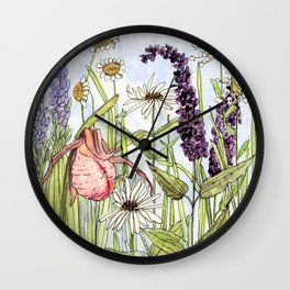 Lady Slipper Orchid Woodland Wildflower Watercolor Wall Clock
