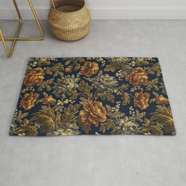 William Morris Poppy Textile Floral Tapestry Pattern Rug