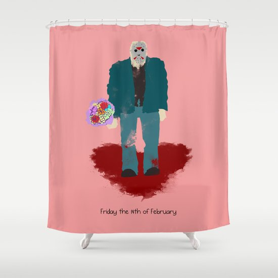 Friday the 14th of February (Monsters in Love) Shower Curtain