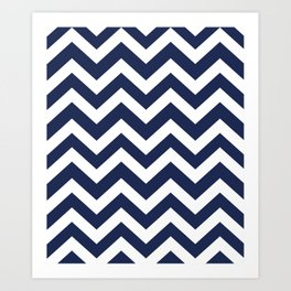 Space cadet - blue color - Zigzag Chevron Pattern Art Print