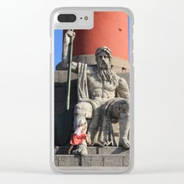 Figure of a man with a paddle sitting at the foot of the Rostral column. A little girl jumps over he Clear iPhone Case