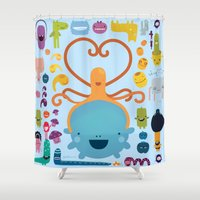 best friends Shower Curtains featuring Best Friends by Piktorama