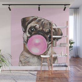 Pug with Pink Bubble Gum Wall Mural