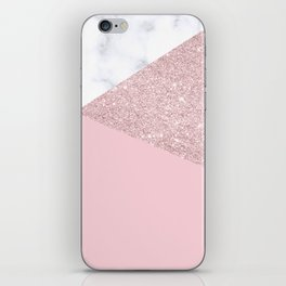 Rose gold glitter, marble & pink iPhone Skin