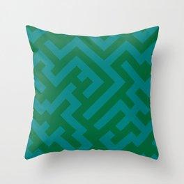 Teal Green and Cadmium Green Diagonal Labyrinth Throw Pillow