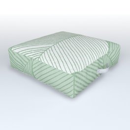 Minimal Tropical Leaves Pastel Green Outdoor Floor Cushion
