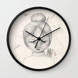 Lucky Kitty (Girl with Japanese Fortune Cat on Shoulder Drawing) Wall Clock