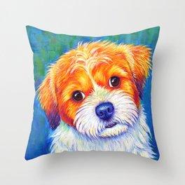Colorful Curious Shih Tzu Dog Throw Pillow