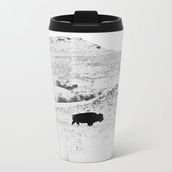 Black and White Bison Metal Travel Mug