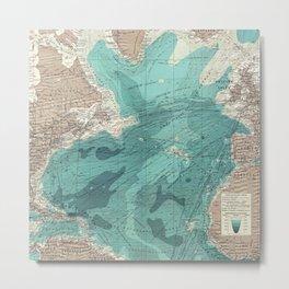 Vintage Green Transatlantic Mapping Metal Print