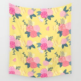 Sweet Roses on Yellow Wall Tapestry