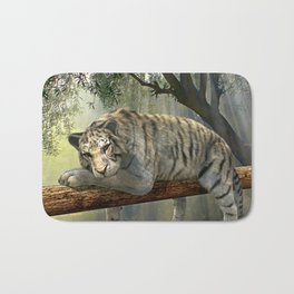 White tiger chilling in the jungle Bath Mat