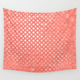 Polka dots and texture in peach echo Wall Tapestry