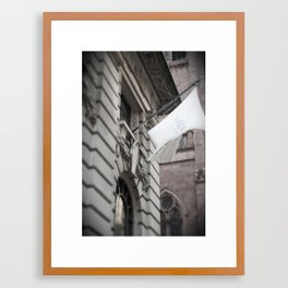 Stark White Flag Framed Art Print
