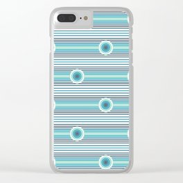 Concentric Circles and Stripes in Teals Clear iPhone Case