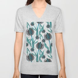 Watercolor Blue Tulips Unisex V-Neck