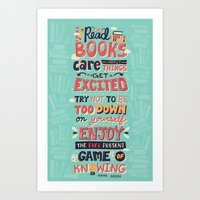 risa rodil Art Prints featuring Read Books by Risa Rodil