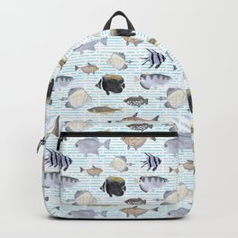 Fish Pattern - Cool Seacoast Watercolor Backpack