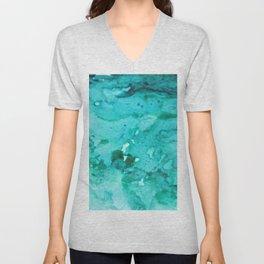 Abstract Aqua Unisex V-Neck