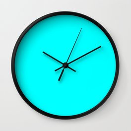 Neon Aqua Blue Bright Electric Fluorescent Color Wall Clock