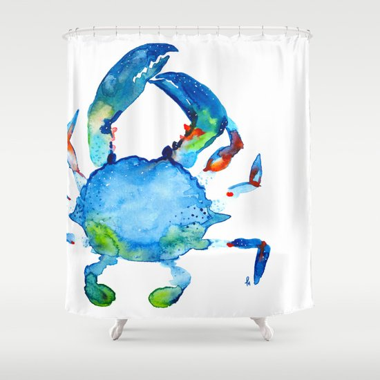 Blue Claw Crab   Nautical   Summer   Ocean   Sea Life Shower Curtain