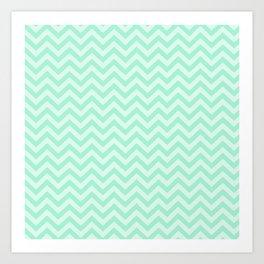Chevron Print in Seafoam/ Mint Green Art Print