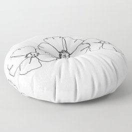 Floral one line drawing - Rita Floor Pillow