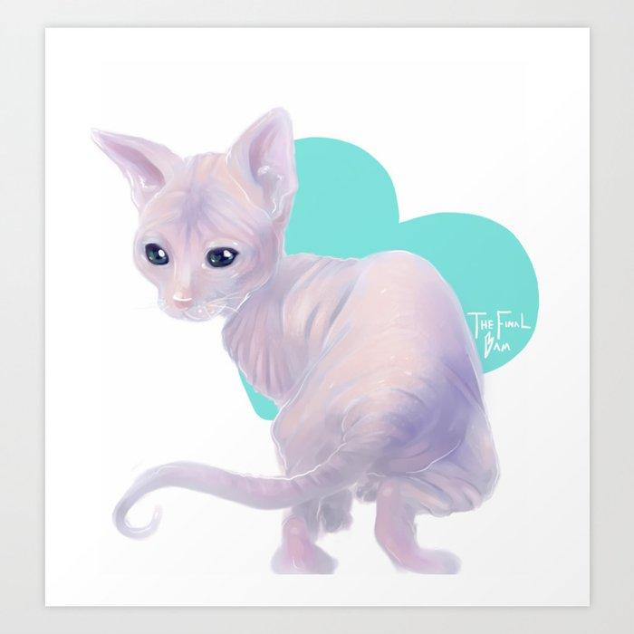 Sphynx Kitten Art Print by thefinalbam