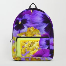 PURPLE PANSIES IN YELLOW FLORAL GARDEN Backpack