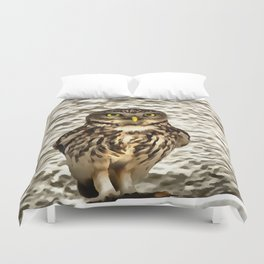 Small Owl In Camouflage Duvet Cover