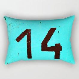 Turqoise Number Fourteen Rectangular Pillow