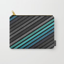 stripeS : Slate Gray Teal Blue Carry-All Pouch