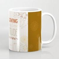 thanksgiving Mugs featuring ThanksGiving by joannaciolek