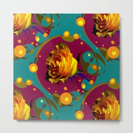Champagne Bubbles Golden Rose Teal Abstract Metal Print