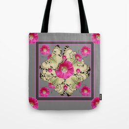 CHARCOAL GREY PINK FLOWERS YELLOW BUTTERFLIES Tote Bag