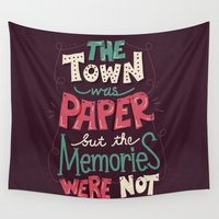 paper towns Wall Tapestries featuring Paper Towns: Town and Memories by Risa Rodil