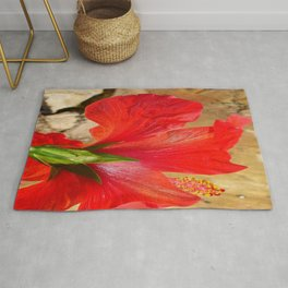 Back View of A Beautiful Bright Red Hibiscus Flower Rug