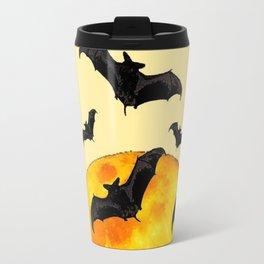 BLACK FLYING BATS FULL MOON ART Travel Mug