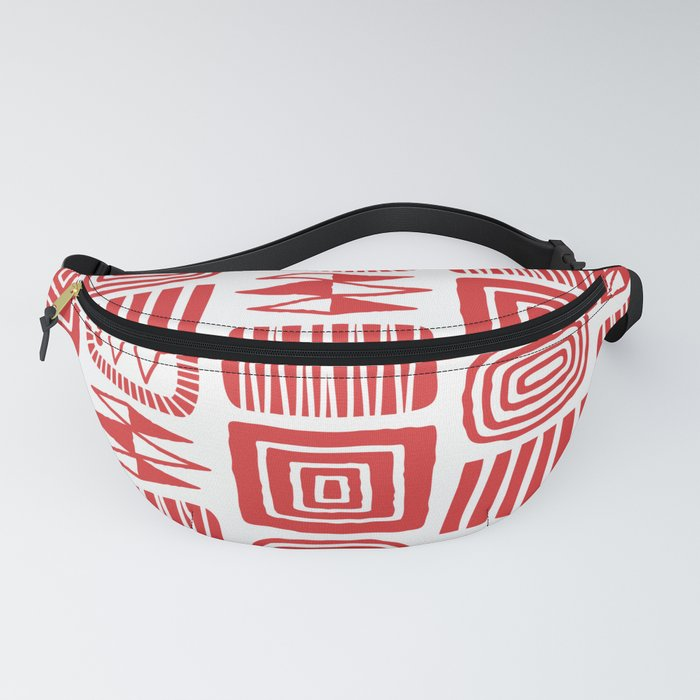Retro Mid Century Modern Check Pattern 240 Red Fanny Pack