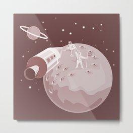 Astronaut Landing On Moon retro Metal Print