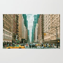 New York street and a yellow taxi Rug