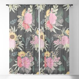 Watercolor Poppy & Sunflowers Floral Black Design Sheer Curtain