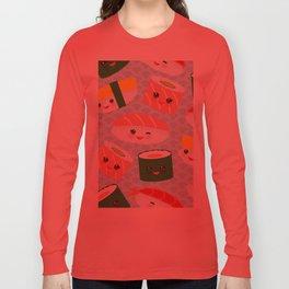pattern Kawaii funny sushi rolls set with pink cheeks and big eyes, emoji Long Sleeve T-shirt