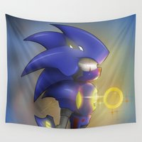sonic Wall Tapestries featuring Metal Sonic  by JStroud