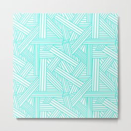 Sketchy Abstract (Turquoise & White Pattern) Metal Print