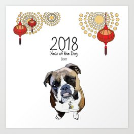Year of the Dog - Boxer Art Print
