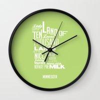 minnesota Wall Clocks featuring Minnesota Spring by Kelly Jane